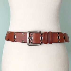 Fossil Metal & Leather Belt With Brass Buckle Belt